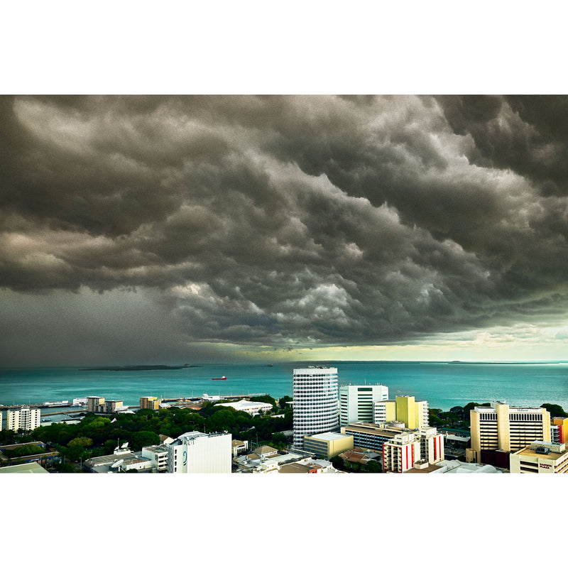 Dark storm clouds over Darwin Harbour and the city