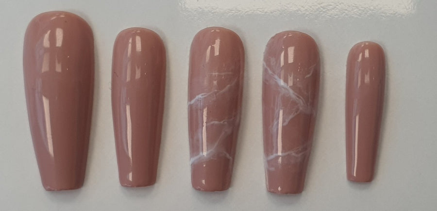 Nude marble press-on nails