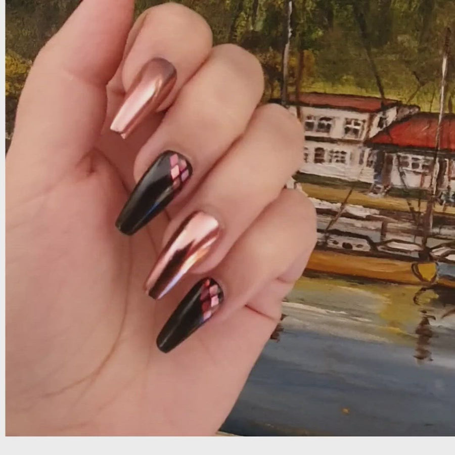 Rose gold chrome press-on nails