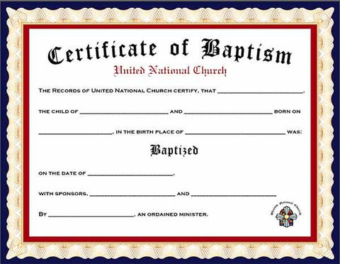 Pack of 4 Baptism Certificates