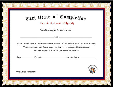 Pack of 4 Marriage Counseling Completion Certificates