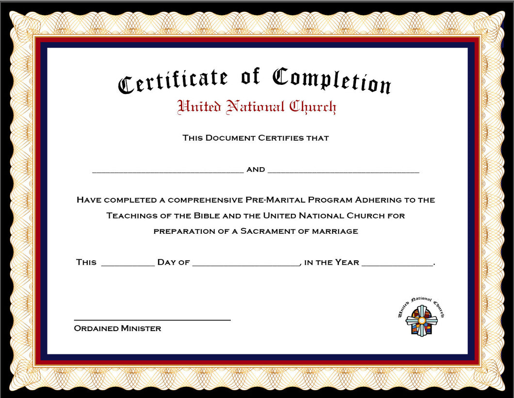 Pack of 4 Marriage Counseling Completion Certificates – United ...