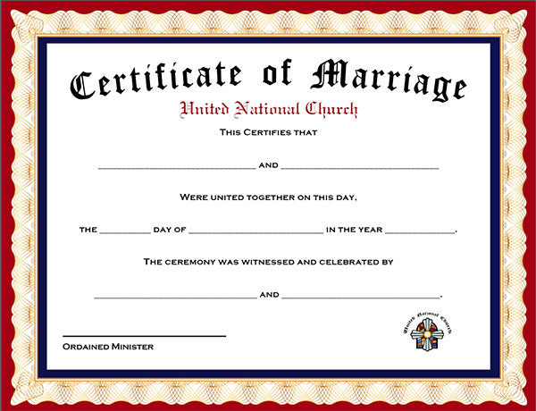 Pack Of  Marriage Certificates  United National Ministry  Get