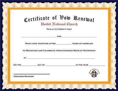 Pack of 4 Renewal of Vows Certificates