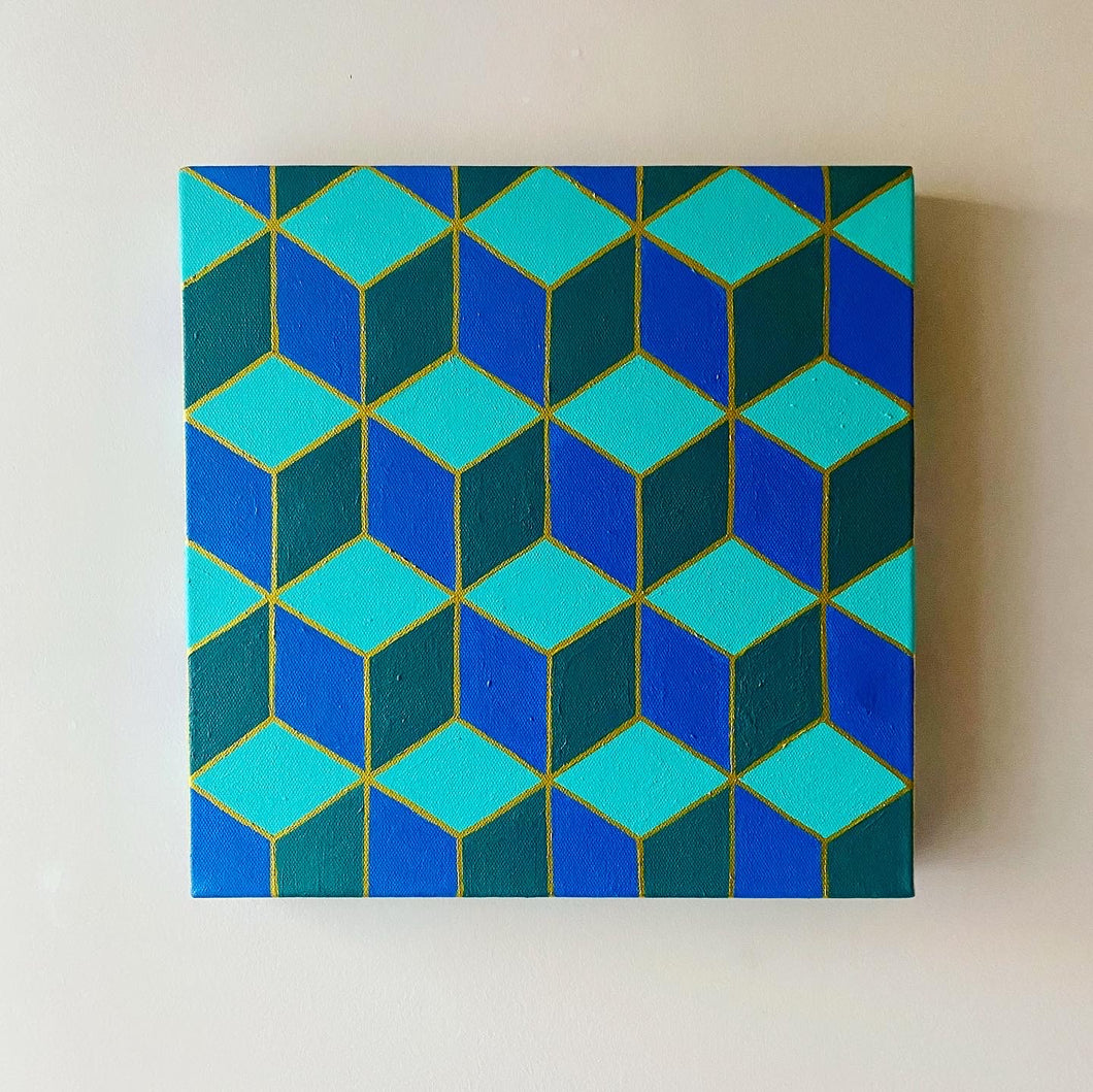 Geometric Teal Painting