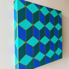 Load image into Gallery viewer, Geometric Teal Painting