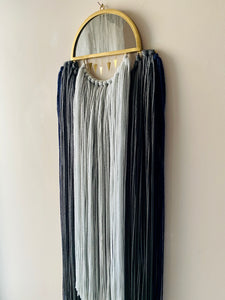 Handmade Fiber Wall Hanging Navy Grey