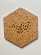 Load image into Gallery viewer, Geometric Hexagon Cork Coasters Blue