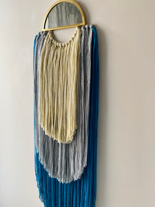 Handmade Fiber Wall Hanging Cream Teal