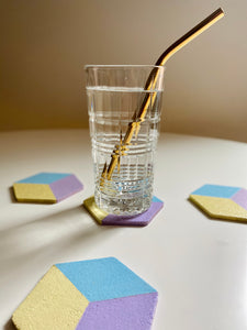 Geometric Hexagon Cork Coasters Pastel