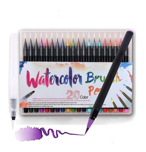 Watercolor Paint Brush Pens (set of 20 multicolor ) - Hineedz