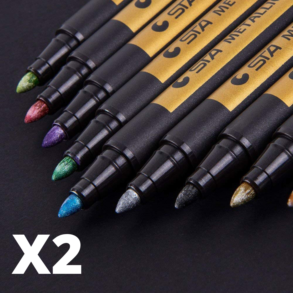 2 Golden Metallic Markers(set of 10 multi color pens)