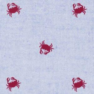 Red Crabs on Blue Chambray