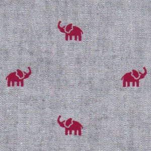 Red Elephants on Gray Chambray