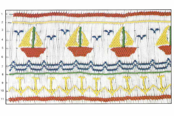 Children's Corner Boats, Anchors Smocking Plate