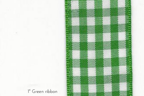 "Tartan Green and White 1"" Ribbon"