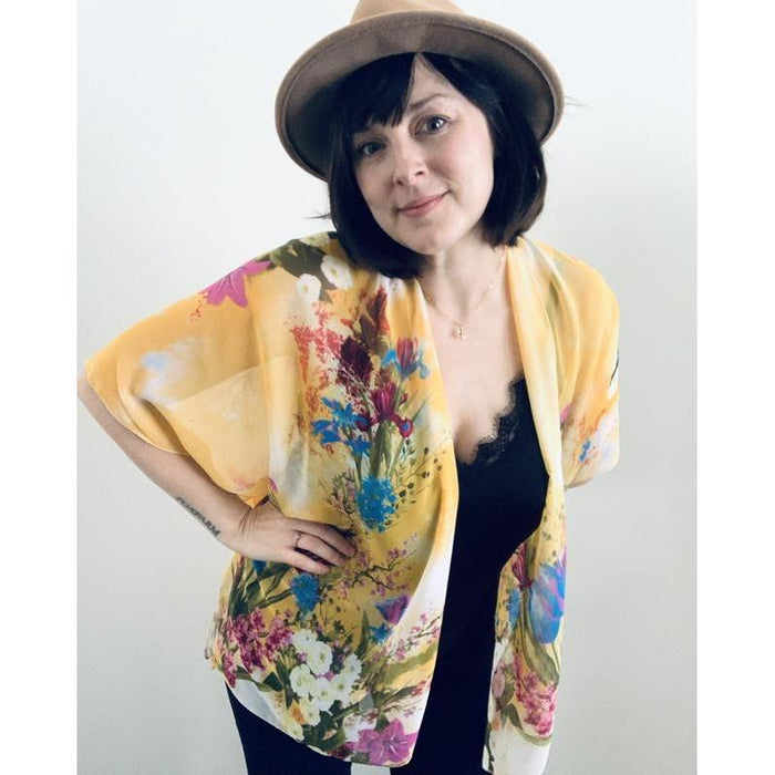 YELLOW FLORAL SHEER KIMONO by Halina Shearman Designs | Artfest Ontario