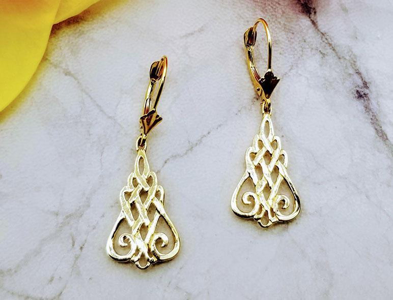10K Gold Talia Celtic Earrings on European Backs - Artfest Ontario - Delicate Touch Jewellery - Fine Jewellery