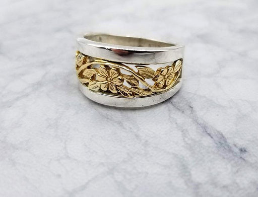 14K Gold & Sterling Flower Band Ring - Artfest Ontario - Delicate Touch Jewellery - Fine Jewellery