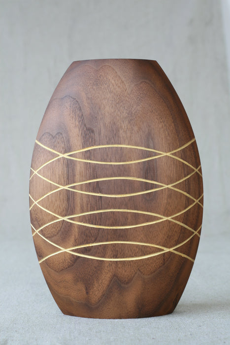 Walnut Pineapple Lined Sealed Wooden Vase