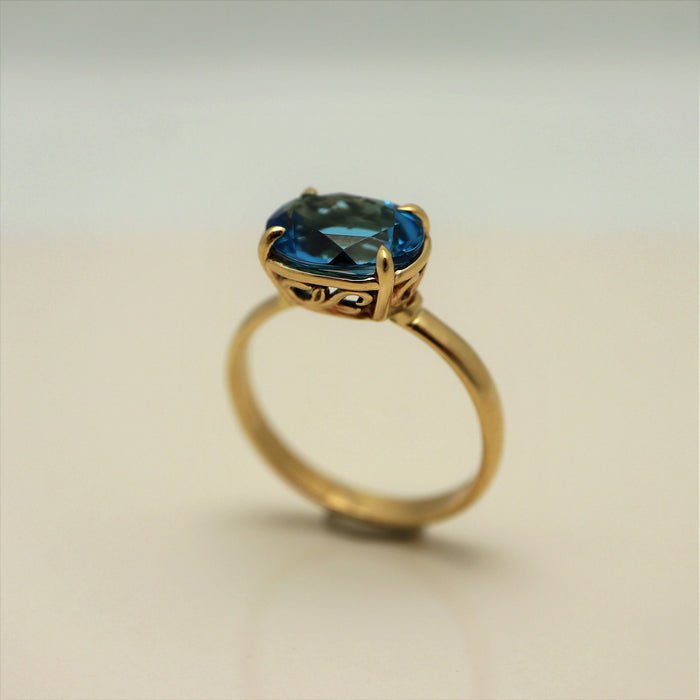 Aubrey Blue Topaz 14k Gold Ring-Devine Fine Jewellery-Artfest Ontario-handcrafted-handmade-topaz-one of a kind-local-shop small-Ottawagemstones-gold-