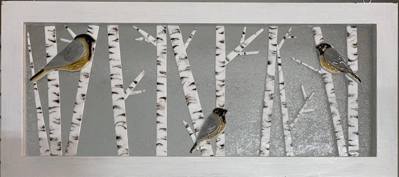 Cardinals and Chickadees in Birch Tree Windows