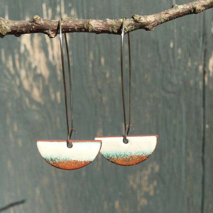 Half-moon Drop Earrings in White & Copper