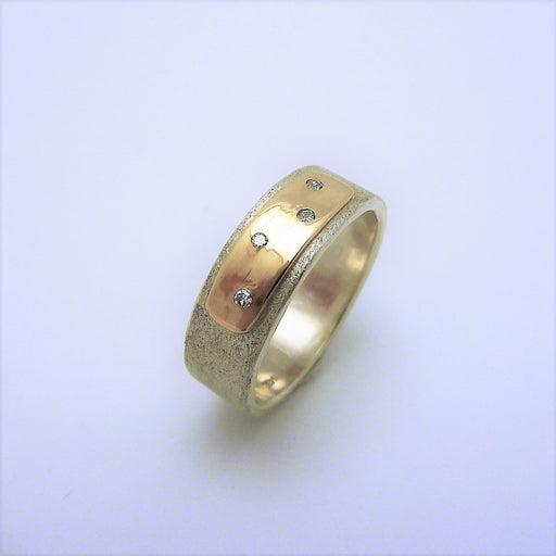 Alex Polka Dot - Sterling Silver & 14k Gold Band with Diamonds - Artfest Ontario - Devine Fine Jewellery - Ring