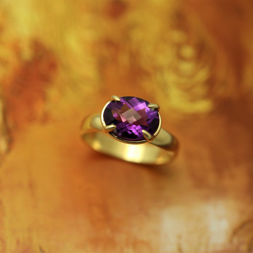 Allie 14k Gold Ring with Amethyst Gemstone - Artfest Ontario - Devine Fine Jewellery - Ring