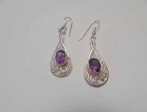 Amethyst Paisley Earrings - Artfest Ontario - Delicate Touch Jewellery - Fine Jewellery