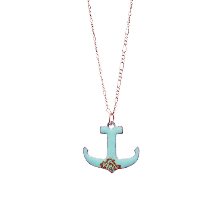 Anchor Necklace in Seafoam & Earth - Artfest Ontario - Aflame Creations Jewelry - Jewellery