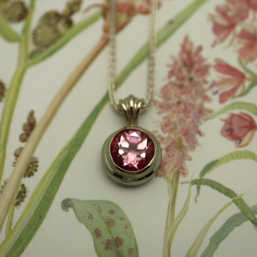 Andrea 14k White Gold Pendant with Pink Topaz Gemstone - Artfest Ontario - Devine Fine Jewellery - Pendant/ Necklace