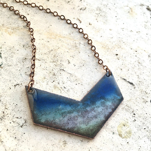 Atlantic Waters Chevron Necklace in Blues - Artfest Ontario - Aflame Creations Jewelry - Jewellery