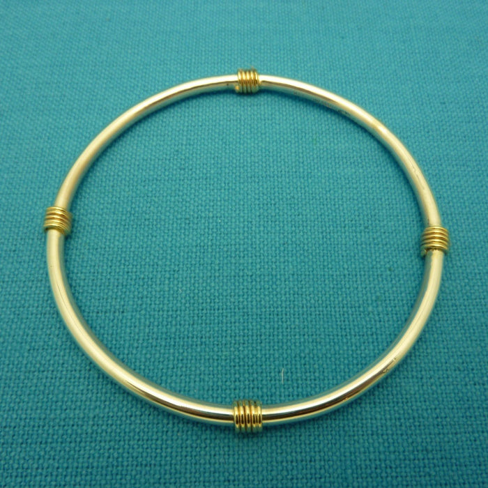 Bangle Wrap Sterling Silver w/14k Gold Wrap - Artfest Ontario - Devine Fine Jewellery - Bracelet/ Bangle