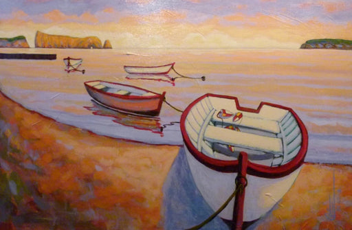 Barques à Percé (Boats in Percé) - Artfest Ontario - Gilles Côté - Paintings -Artwork - Sculpture