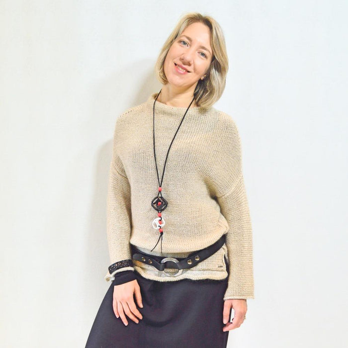Beige Laila Sweater - Artfest Ontario - OlgaG Knits - Clothing & Accessories