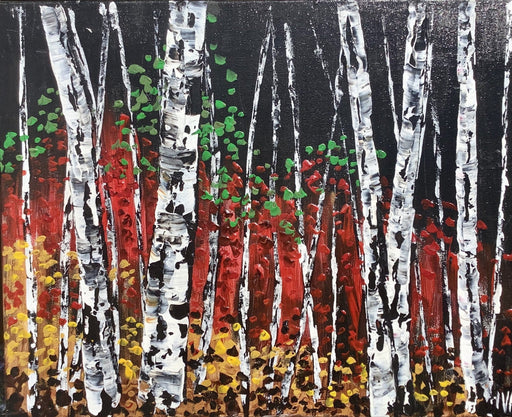 Birches by Campfire Light - Artfest Ontario - Art by Ivan - Painting