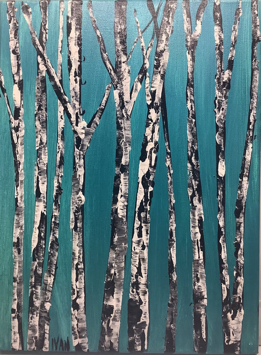 Birches on Turquoise - Artfest Ontario - Art by Ivan - Painting