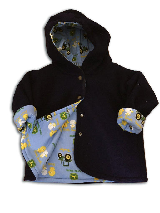 Black Polar Fleece with John Deer Tractor Reversible Jacket - Artfest Ontario - Muffin Mouse Creations - Clothing & Accessories