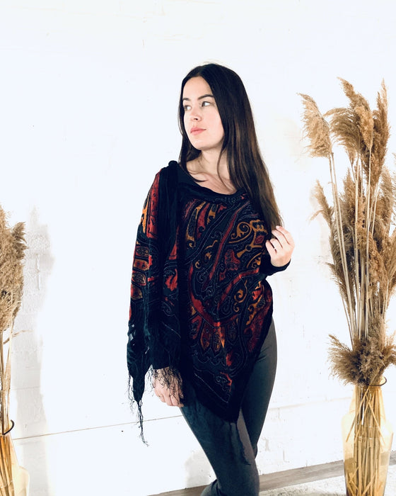 Black, Red and Orange Velvet Burnout Draped Shawl - Artfest Ontario - Halina Shearman Designs - Clothing & Accessories