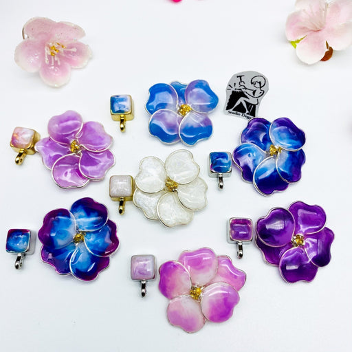 Blue and Light Pink Pansy Necklace - Artfest Ontario - Studio Degas - Jewelry & Accessories