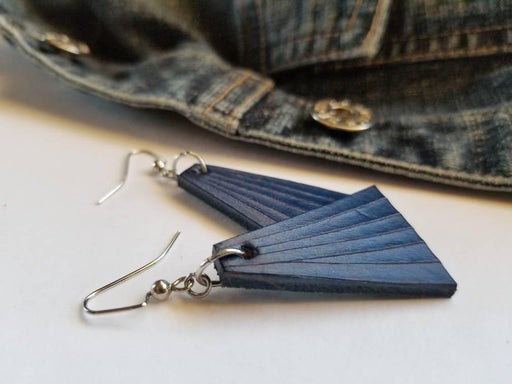 Blue Leather Dangle Earrings & Gift Bag - Artfest Ontario - Iron Art - Clothing & Accessories