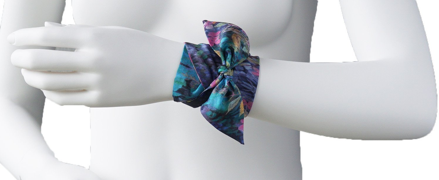 Blue Mountain Garden Twilly Scarf - Artfest Ontario - Water Wood Style - Twilly Silk Scarf