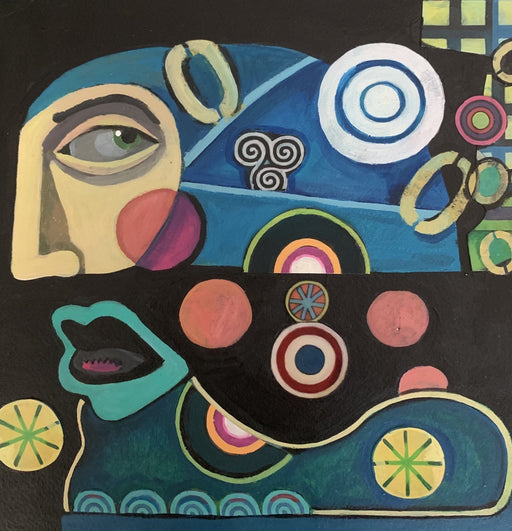 Blue Profile With Circles - Artfest Ontario - Sue Davies Art - Paintings