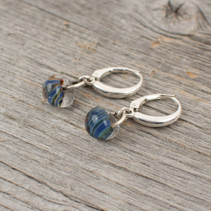 Blue striped borosilicate glass teardrop and silver earrings - Artfest Ontario - Lisa Young Design - Earrings
