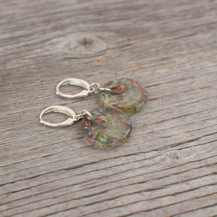 Borosilicate glass disc and silver earrings - Artfest Ontario - Lisa Young Design - Earrings