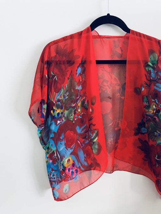 Bright Red and Blue Floral Sheer Cropped Kimono - Artfest Ontario - Halina Shearman Designs - Cropped Kimono