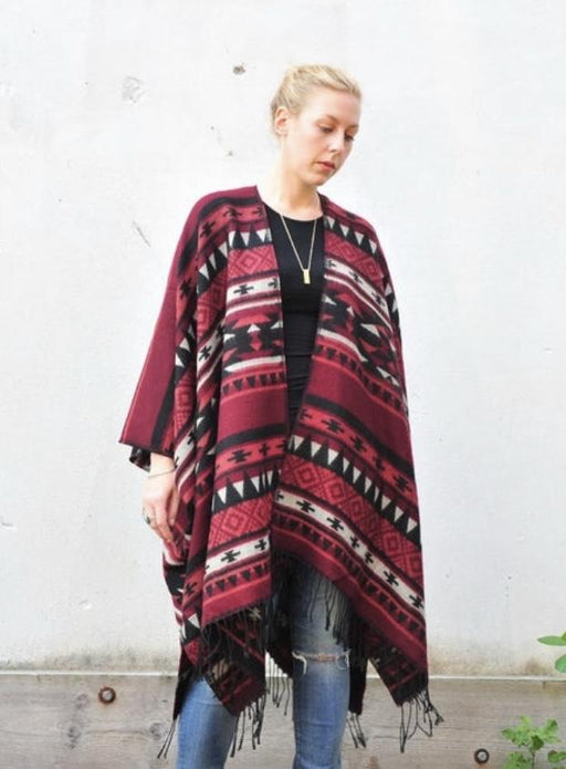 Burgundy and Black Southwest Fleece Kimono - Artfest Ontario - Halina Shearman Designs - Clothing & Accessories