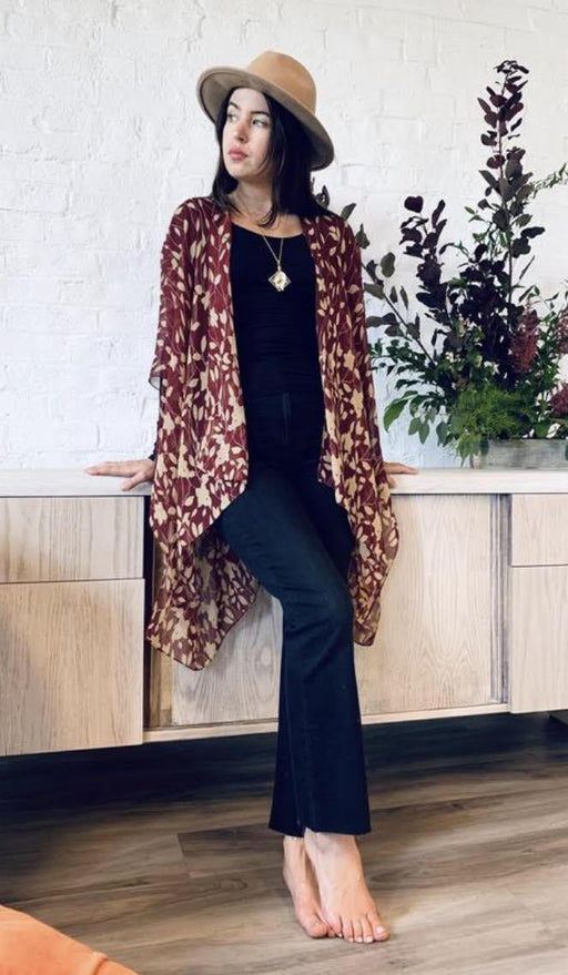 Burgundy Leaves kimono - Artfest Ontario - Halina Shearman Designs - Clothing & Accessories