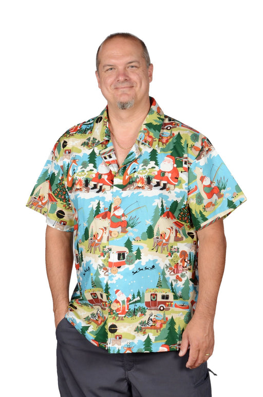 Camping Santa Pattern - Hawaiian Christmas Shirt - Artfest Ontario - Joe-Feak - Clothing & Accessories
